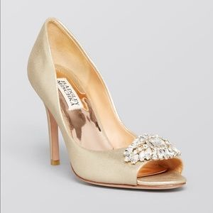 Badgley Mischka Gold Satin Jeweled Peep Toe Heels